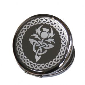 Personalised Scottish Thistle Compact Mirror